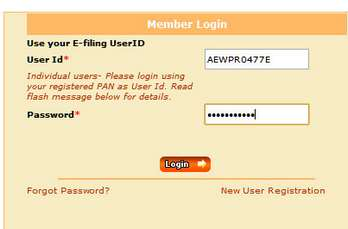 Income Tax E-filing login screen