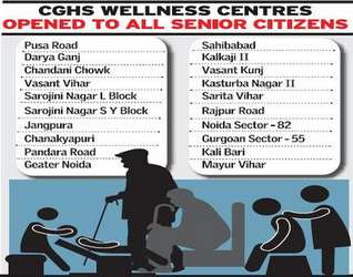 CGHS facilities to senior citizens in Delhi
