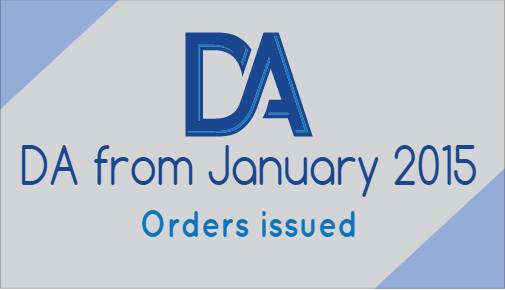 Dearness Allowance from 1st January 2015 orders issued
