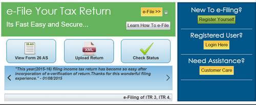Registation page for filing Income tax online