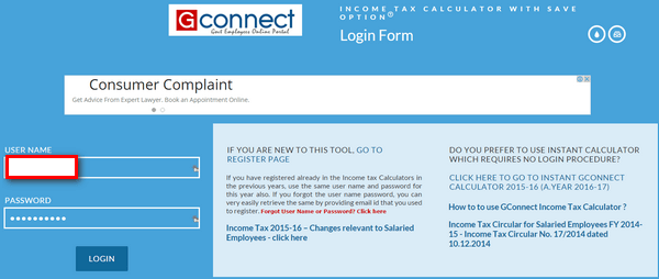 GConnect Income Tax Calculator with save option login form