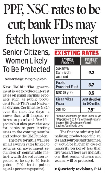 ppf nsc rd may fetch lower interest