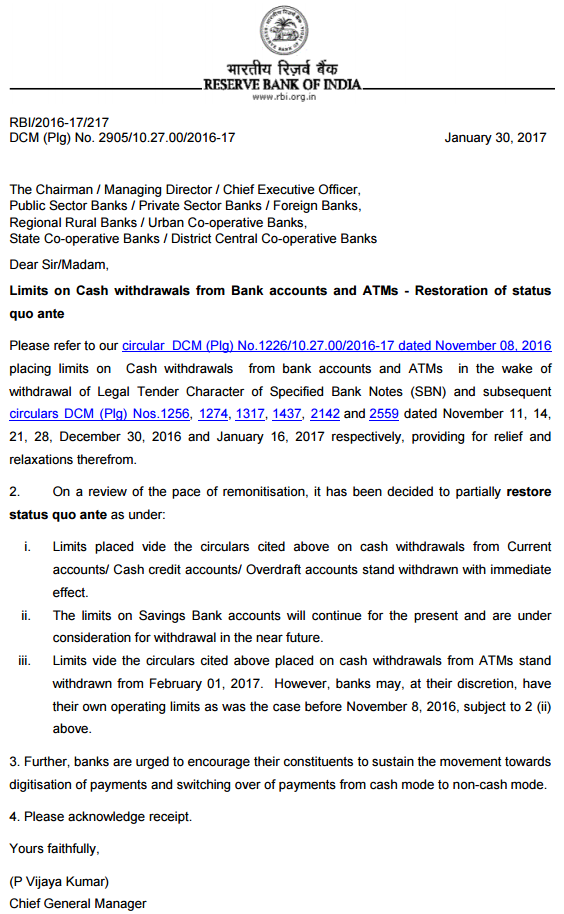 Cash withdrawal cap released for current accounts