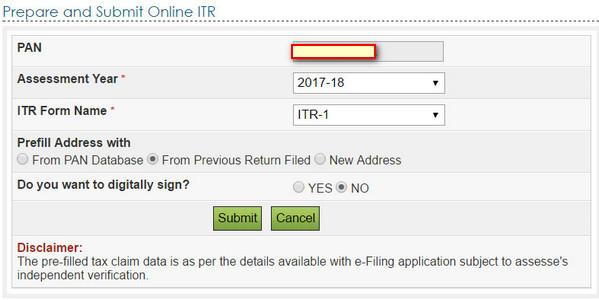 online ITR-1