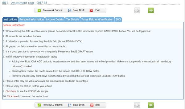 Instructions for filing ITR-1 online