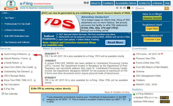 how to file ITR-1 online ?