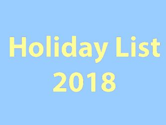 central government holiday list 2018