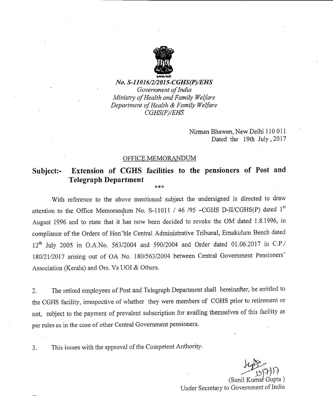 Extension of CGHS Facilities to Pensioners of Postal and Telegraph on