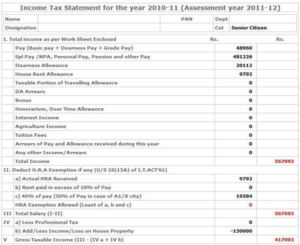 Online Tool To Calculate Income Tax  Assessment Year